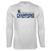 Performance White Longsleeve Shirt-2017 Womens Soccer Champions - Bar Design