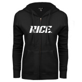 ENZA Ladies Black Fleece Full Zip Hoodie-Rice