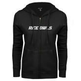 ENZA Ladies Black Fleece Full Zip Hoodie-Rice Owls