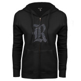 ENZA Ladies Black Fleece Full Zip Hoodie-R Graphite Soft Glitter