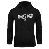 Black Fleece Hoodie-Rice Owls Fancy Lines