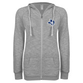 ENZA Ladies Grey/Black Marled Full Zip Hoodie-Owl Head