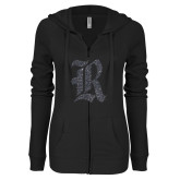ENZA Ladies Black Light Weight Fleece Full Zip Hoodie-R Graphite Soft Glitter