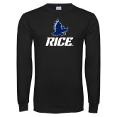 Black Long Sleeve T Shirt-Full Owl Rice Stacked