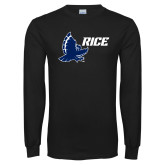Black Long Sleeve T Shirt-Full Owl Rice