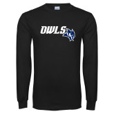 Black Long Sleeve T Shirt-Owls With Owl Head
