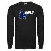 Black Long Sleeve T Shirt-Full Owl Owls