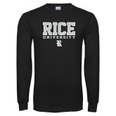 Black Long Sleeve T Shirt-Rice University Stacked