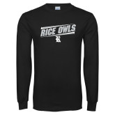 Black Long Sleeve T Shirt-Rice Owls Fancy Lines