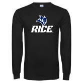 Black Long Sleeve T Shirt-Rice Owl Head Stacked
