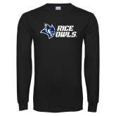 Black Long Sleeve T Shirt-Rice Owls Stacked