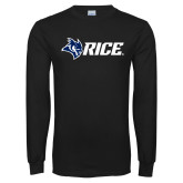 Black Long Sleeve T Shirt-Owl Head Rice