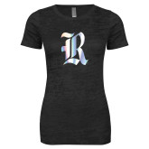 Next Level Ladies Junior Fit Black Burnout Tee-R Foil