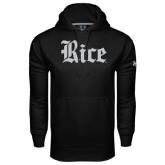 Under Armour Black Performance Sweats Team Hood-Rice Wordmark