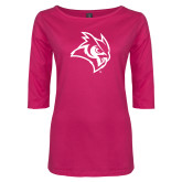 Ladies Dark Fuchsia Perfect Weight 3/4 Sleeve Tee-Owl Head