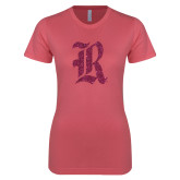 Next Level Ladies SoftStyle Junior Fitted Pink Tee-R Hot Pink Glitter