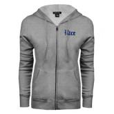 ENZA Ladies Grey Fleece Full Zip Hoodie-Rice Wordmark