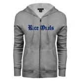 ENZA Ladies Grey Fleece Full Zip Hoodie-Rice Owls Wordmark