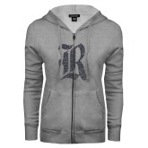 ENZA Ladies Grey Fleece Full Zip Hoodie-R Graphite Soft Glitter