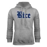 Grey Fleece Hood-Rice Wordmark