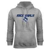 Grey Fleece Hoodie-Rice Owls With Owl Head