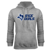 Grey Fleece Hoodie-Rice Owls Stacked
