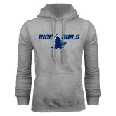 Grey Fleece Hoodie-Rice Owls Full Owl