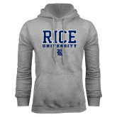 Grey Fleece Hood-Rice University Stacked