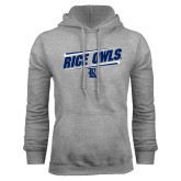 Grey Fleece Hoodie-Rice Owls Fancy Lines