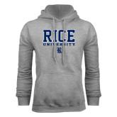 Grey Fleece Hood-Rice University Stacked