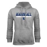 Grey Fleece Hood-Stencil Baseball Design