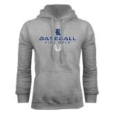 Grey Fleece Hood-Stacked Baseball Design