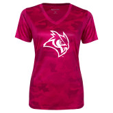 Ladies Pink Raspberry Camohex Performance Tee-Owl Head