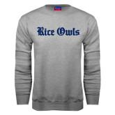 Grey Fleece Crew-Rice Owls Wordmark