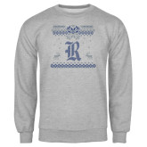 Grey Fleece Crew-Old English R - Ugly Christmas Sweater