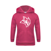 Youth Raspberry Fleece Hoodie-Owl Head