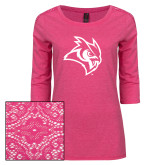Ladies Dark Fuchsia Heather Tri Blend Lace 3/4 Sleeve Tee-Owl Head
