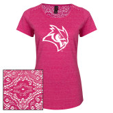 Ladies Dark Fuchsia Heather Tri-Blend Lace Tee-Owl Head