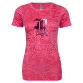 Next Level Ladies Junior Fit Fuchsia Burnout Tee-R Foil