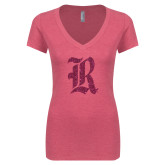 Next Level Ladies Vintage Pink Tri Blend V-Neck Tee-R Hot Pink Glitter