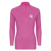 Ladies Syntrel Interlock Raspberry 1/4 Zip-Owl Head