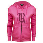ENZA Ladies Fuchsia Fleece Full Zip Hoodie-R Hot Pink Glitter