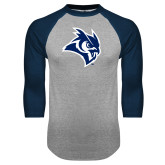 Grey/Navy Raglan Baseball T Shirt-Owl Head