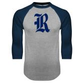 Grey/Navy Raglan Baseball T Shirt-R