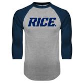 Grey/Navy Raglan Baseball T Shirt-Rice