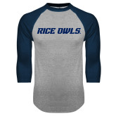 Grey/Navy Raglan Baseball T Shirt-Rice Owls