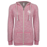 ENZA Ladies Hot Pink Marled Full Zip Hoodie-Owl Head