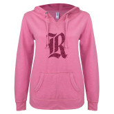 ENZA Ladies Hot Pink V-Notch Raw Edge Fleece Hoodie-R Hot Pink Glitter