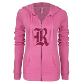 ENZA Ladies Hot Pink Light Weight Fleece Full Zip Hoodie-R Hot Pink Glitter
