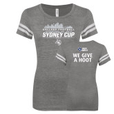 ENZA Ladies Dark Heather/White Vintage Football Tee-2017 College Football Sydney Cup